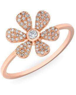 14kt Rose Gold Diamond Single Daisy Ring