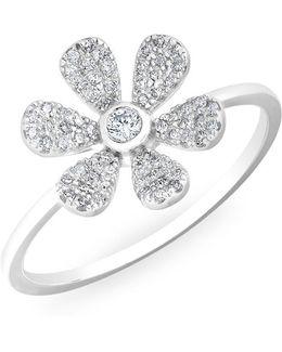 14kt White Gold Diamond Single Daisy Ring