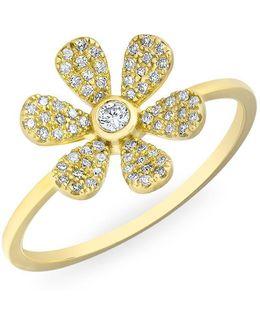 14kt Yellow Gold Diamond Single Daisy Ring
