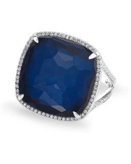 14kt White Gold Diamond Blue Sapphire Laguna Triplet Cushion Cut Cocktail Ring