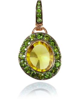 Dusty Diamonds Olive Quartz Pendant