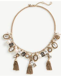 Crystal Tassel Statement Necklace