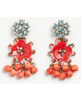 Sequin Floral Crystal Earrings