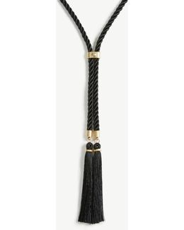 Pearlized Rope Tassel Necklace