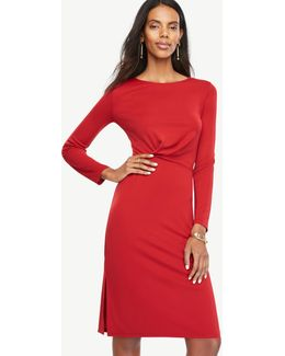 Draped Matte Jersey Sheath Dress