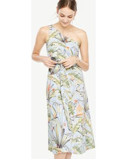 Petite Tropical One Shoulder Dress