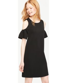 Petite Cold Shoulder Flutter Sleeve Dress
