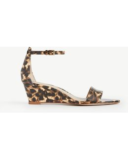 Petra Leopard Print Patent Wedge Sandals