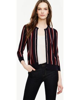 Petite Striped 3/4 Sleeve Ann Cardigan