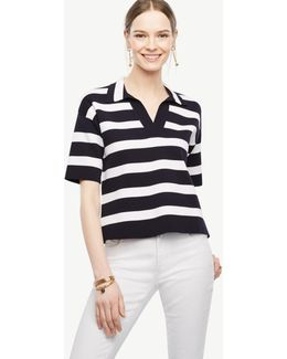 Petite Striped Polo Sweater