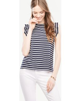 Pleated Sleeveless Striped Top
