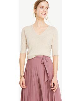 Cashmere Short Sleeve V-neck Sweater