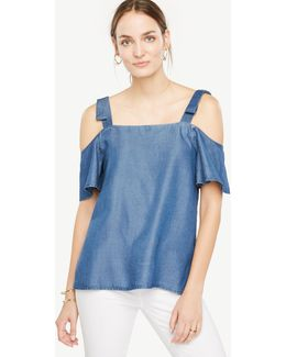 Chambray Bow Cold Shoulder Blouse