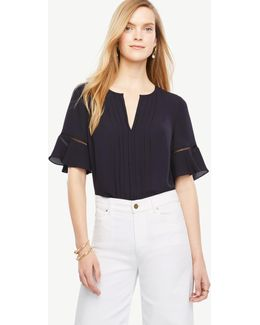 Petite Pintucked Flutter Sleeve Top