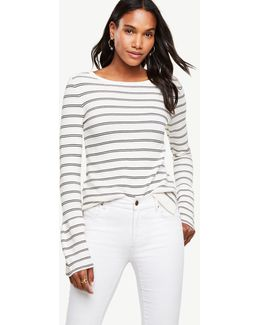 Petite Striped Bell Sleeve Sweater