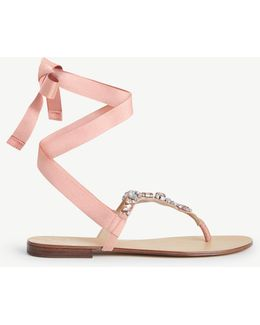 Gayla Jeweled Lace Up Thong Sandals