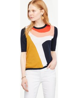 Petite Abstract Linen Sweater Tee