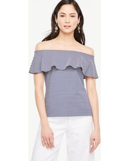 Striped Ruffle Off The Shoulder Top