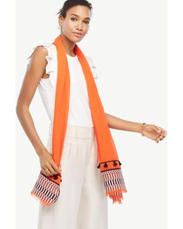 Mixed Stripe Embroidered Scarf