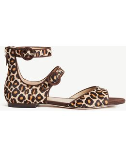 Ivette Leopard Print Haircalf Strappy Sandals