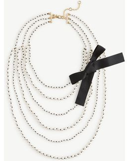 Knotted Pearlized Tier Necklace