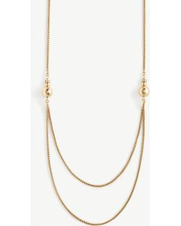 Double Ball Drop Station Necklace