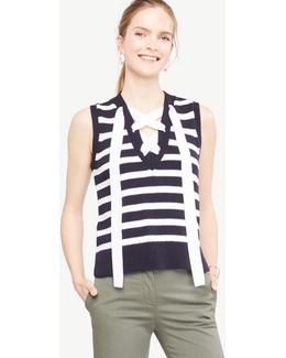 Stripe Sleeveless Lace Up Sweater