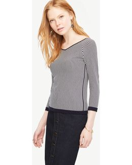 Stripe Double V 3/4 Sleeve Sweater