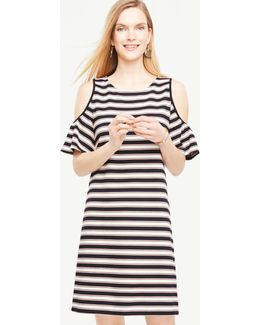 Tall Stripe Cold Shoulder Flutter Sleeve Dress
