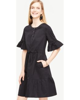 Fluted Sleeve Poplin Shirt Dress