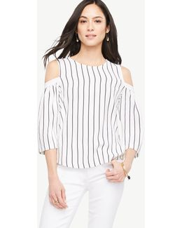 Petite Striped Cold Shoulder Bell Sleeve Top