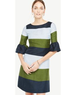 Petite Fluted Sleeve Striped Shift Dress