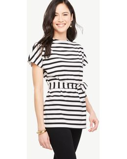 Striped Tie Waist Tunic Tee