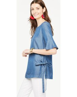 Petite Chambray Side Tie Top