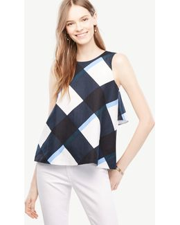 Petite Gingham Bow Back Peplum Top
