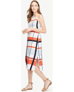 Petite Picnic Striped Linen Blend Midi Dress