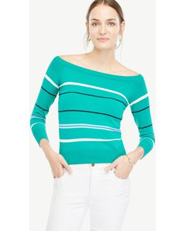 Petite Stripe Off The Shoulder Sweater