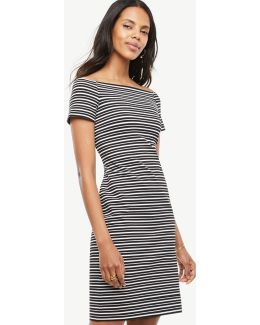 Petite Stripe Off The Shoulder Shift Dress