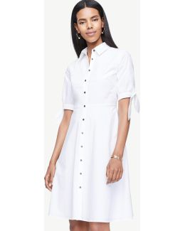 Poplin Tie Sleeve Shirt Dress