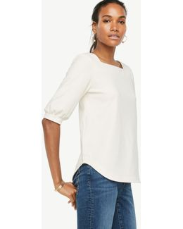 Square Neck Elbow Sleeve Top