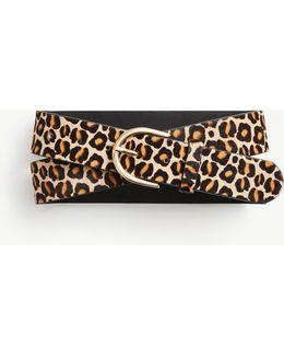 Wide Leopard Print Haircalf Trouser Belt