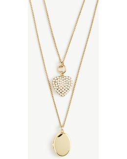 Pearlized Heart And Locket Layering Necklace