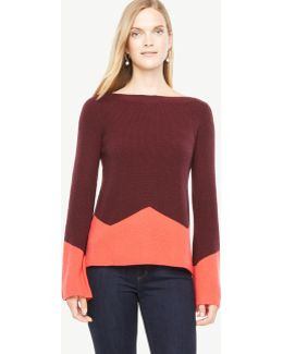 Colorblock Fluted Sleeve Boatneck Sweater