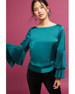 Pleated-sleeve Blouse