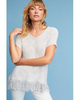 Fringed V-neck Pullover