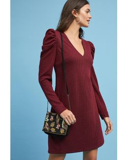 Ruched-sleeve Knit Dress