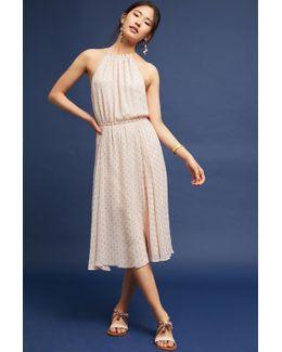 Blushed Metallic Halter Dress