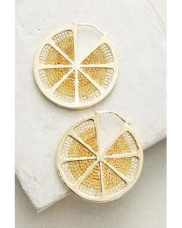 Sliced Lemon Hoop Earrings