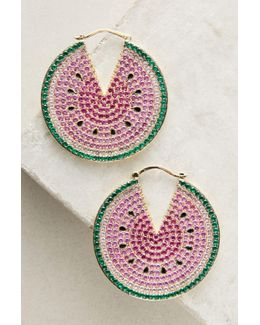 Watermelon Hoop Earrings