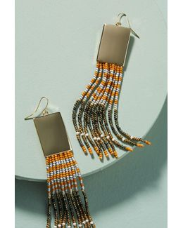 Beaded Rectangle Drop Earrings